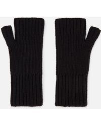AMI Fisherman's Rib Fingerless Gloves - Black