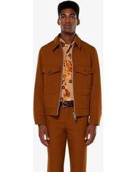 AMI Patch Pockets Zipped Jacket - Brown