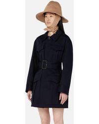 AMI Belted Saharan Coat - Blue