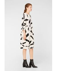 AMI Robe Col Rond Manches Courtes Plumes - Blanc