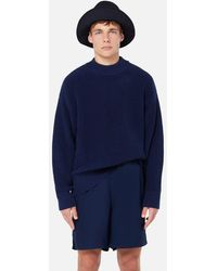 AMI Fisherman's Rib Crewneck Jumper - Blue