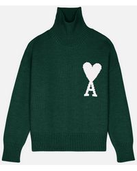 AMI Ami De Coeur Oversize Funnel Neck Sweater - Green
