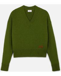AMI Women's V Neck Oversize Jumper - Green