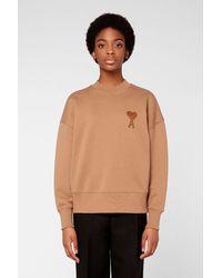 AMI Boxy Fit Sweatshirt With De Coeur Chain Stitch Embroidery - Multicolour