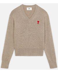AMI - Ami De Coeur Embroidery V Neck Sweater - Lyst