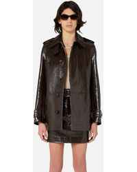 AMI Short Coat In Patent Leather - Brown