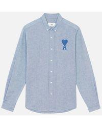 AMI Button-down Big Tonal Ami De Coeur Shirt - Blue