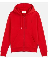 AMI Ami De Coeur Zipped Hoodie - Red