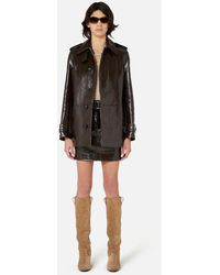 AMI Mini Skirt In Patent Leather - Brown