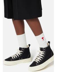 AMI High-top Sneakers With Textured Sole - Black