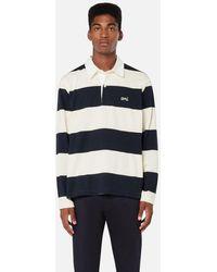 AMI Rugby Striped Polo Shirt - Blue
