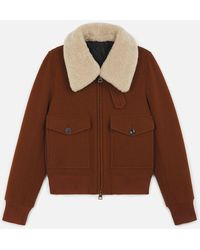 AMI Women's Zipped Jacket With Shearling Collar - Brown