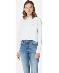 AMI Button-down Shirt With Ami De Coeur Embroidery - White