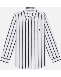 AMI Summer Fit Tonal Ami De Coeur Striped Shirt - White
