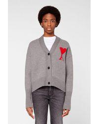AMI De Coeur Intarsia Oversize Cardigan - Gray
