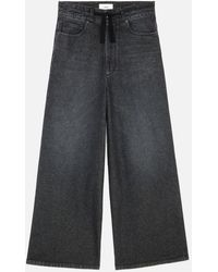 AMI Wide Fit Jeans With Drawstring Belt - Black