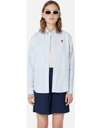 AMI Button-down Shirt With Ami De Coeur Embroidery - Blue