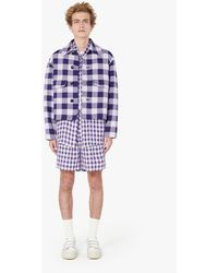 AMI Short Gingham Coat With Pockets - Purple