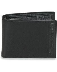 Emporio Armani Portefeuille en cuir régénéré avec logo estampillé - Noir