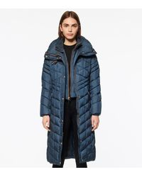 Andrew Marc Merlette Chevron Quilted Long-line Puffer - Blue