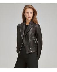 Andrew Marc Paley Pebble Leather Moto Jacket - Black