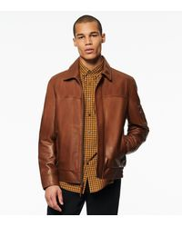 Andrew Marc Balthazar Bomber Jacket With Collar - Brown
