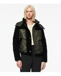 Andrew Marc Vega Velvet Mix Media Printed Down Puffer - Green