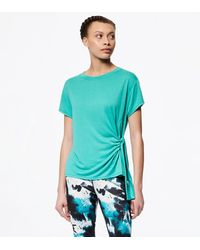 Andrew Marc Asymmetrical Tie Front Tee - Blue
