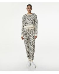Andrew Marc Printed French Terry Crop Sweatshirt - Natural