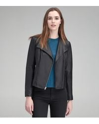 Andrew Marc Kendall Feather Leather Jacket - Black