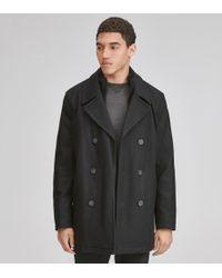 Andrew Marc Burnett Classic Wool Peacoat - Black