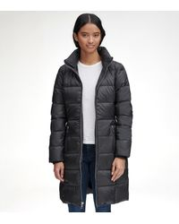 Andrew Marc Long Down Jacket With Fur - Black