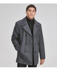 Andrew Marc Burnett Classic Wool Peacoat - Gray