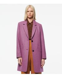 Andrew Marc Paige Wool Melton Boucle Coat - Purple