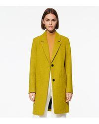 Andrew Marc Paige Wool Melton Boucle Coat - Yellow