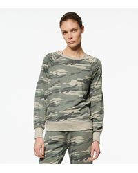 Andrew Marc Camo Long Puff Sleeve Pullover - Green