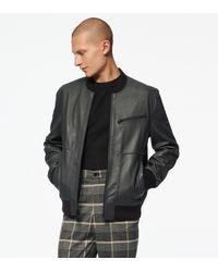 Andrew Marc Praslin Zenith Lambskin Leather Bomber Jacket - Black