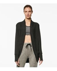 Andrew Marc Peaceful Yoga Long Sleeve Cocoon Wrap - Gray