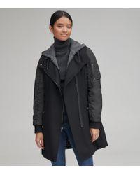 Andrew Marc Rowan Mixed Media Wool Coat - Black