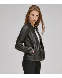 Andrew Marc Goldie Leather Racer Jacket - Black