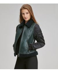 Andrew Marc Tally Leather Aviator Jacket - Green