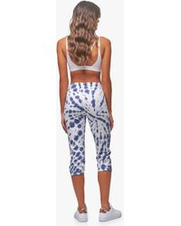 Andrew Marc Tie Dye French Terry Closed Bottom Crop Pant - Blue