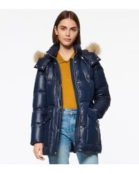 Andrew Marc Charlotte Belted Down Puffer Jacket - Blue