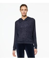 Andrew Marc Hacci Boxy Dolman Hooded Pullover - Blue