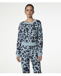 Andrew Marc Printed French Terry Crop Sweatshirt - Blue