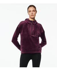 Andrew Marc Luxe Velvet Quarter Zip Hooded Pullover - Purple