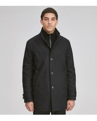 Andrew Marc Strafford Wool Car Coat - Black