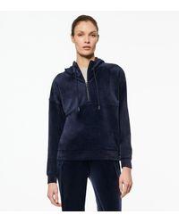 Andrew Marc Luxe Velvet Quarter Zip Hooded Pullover - Blue