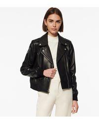 Andrew Marc Sandino Leather Moto Jacket - Black