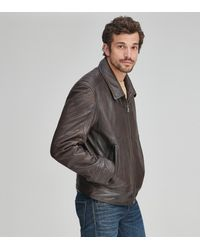 Andrew Marc Morrison Shirt Collar Leather Jacket - Brown